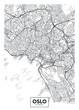 City map Oslo, travel vector poster design