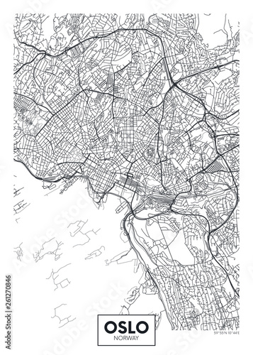 City map Oslo, travel vector poster design Wallpaper Mural