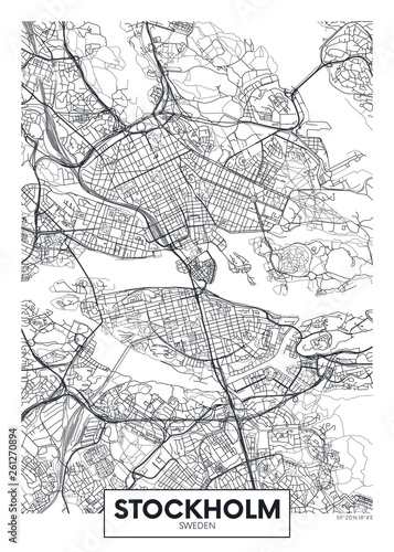 Fotomural City map Stockholm, travel vector poster design