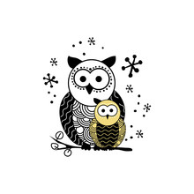 Stylized Owl Silhouette Vector Illustration. Night Bird Black And Yellow Hand Drawn Clipart. Mother And Child Owls Ornate Drawing. Abstract Doodle Wild Animals. Isolated Monochrome Design Element