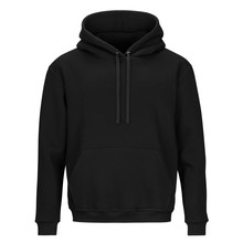 Front Of Black Sweatshirt With Hood Isolated On White Background