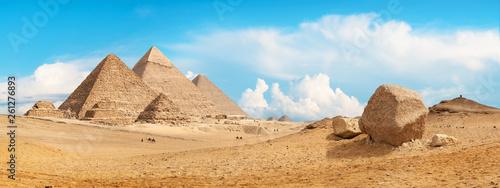 Tuinposter Egypte Pyramids of Giza panorama