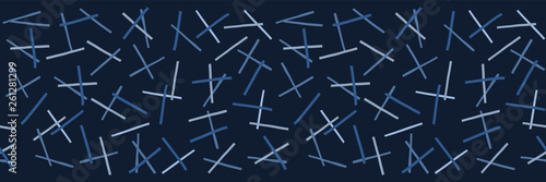 Fotografie, Obraz  Indigo blue graphic ditsy pick up sticks seamless border pattern