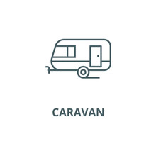 Caravan Line Icon, Vector. Car...