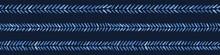 Indigo Blue Graphic Herringbone Stitch Seamless Border Pattern. Modern Chevron Stripes Vector Illustration. Denim Graphic Design. Hand Drawn Banner Ribbon Trim. Masculine Fashion Home Decor Backdrop.
