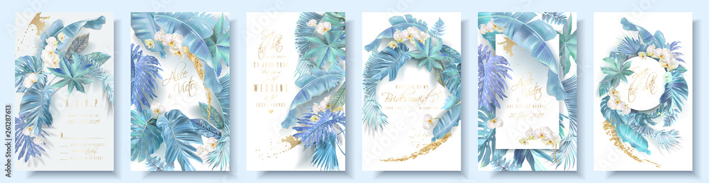 Fototapeta Vector vertical wedding invitation card set with light blue tropical leaves and orchid flowers. Save the date and R.S.V.P. botany design for wedding ceremony. Can be used for cosmetics, beauty salon