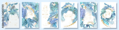 Foto Vector vertical wedding invitation card set with light blue tropical leaves and orchid flowers