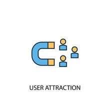 User Attraction Concept 2 Colored Line Icon. Simple Yellow And Blue Element Illustration. User Attraction Concept Outline Symbol Design