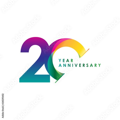 Fotomural 20 Year Anniversary Vector Template Design Illustration