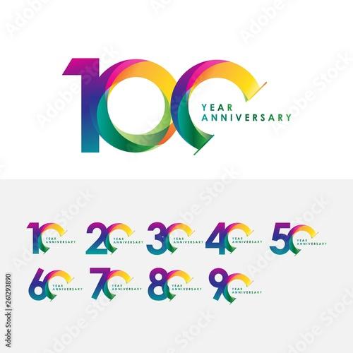 Fotografía 100 Year Anniversary Set Vector Template Design Illustration