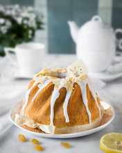 Easter Bread With Oranges And Raisins, Apple Blossom. Russian Kulich Paska, Polish Babka Sweteczna.