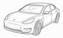 Vector Contour Car On Transparent Background. Tesla Electrocar Outline.