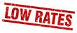 square grunge red low rates stamp