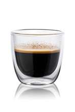 Hot Coffee In A Glass With Dou...
