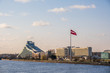 Latvian national library and big flag skyline