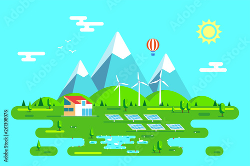 Poster Turquoise Green energy house concept