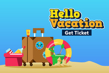 Packing Suitcase For Beach Vacation Poster