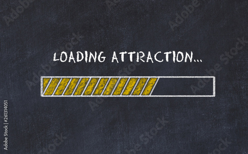 Foto  Chalk board sketch with progress bar and inscription loading attraction