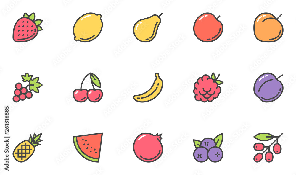 Fruits Vector Line Icons Set. Vegetarianism, Healthy Food, Cooking. Editable Stroke. 48x48 Pixel Perfect. <span>plik: #261316885 | autor: kuroksta</span>