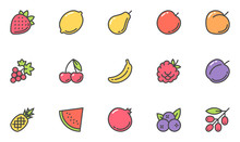 Fruits Vector Line Icons Set. Vegetarianism, Healthy Food, Cooking. Editable Stroke. 48x48 Pixel Perfect.