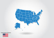 United States map design with 3D style. Blue usa map and National flag. Simple vector map with contour, shape, outline, on white.