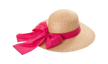 Pretty Straw Hat With Ribbon And Bow On White Background. Beach Hat Top View Isolated