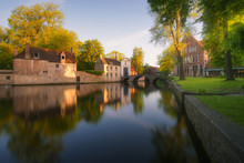 City Canal At Sunrise, Bruges, West Flanders, Belgium