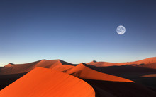 Red Sand Dune With Full Moon, ...