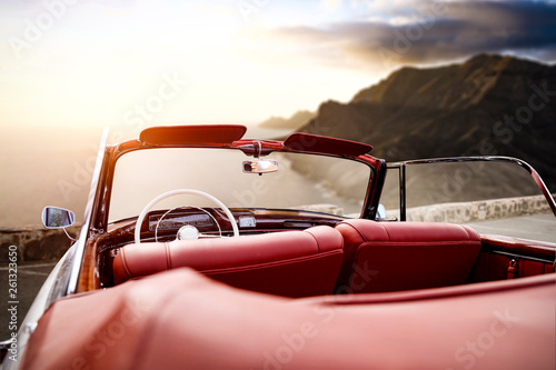 Foto auf Leinwand Rosa hell Summer car on road and sunset time