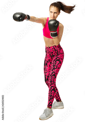 Young sporty kickboxer girl isolated Canvas Print