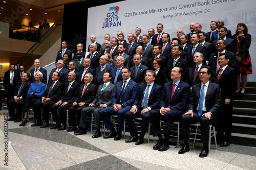 Finance ministers and central bank governors pose for a