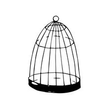 Cage For Birds Vector Sketch