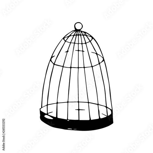Fotografia, Obraz cage for birds vector sketch