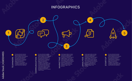 Fototapety, obrazy: Vector infographic template with curl path with options and steps, business yellow icons, words, text on blue background.