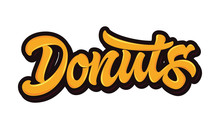 Donuts. Vector Lettering In Bright Orange Color With Glare And Outline Isolated On White Background. Concept For Logo, Card, Typography, Poster, Print.