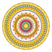 Ethnic Sunflower Round Mandala...