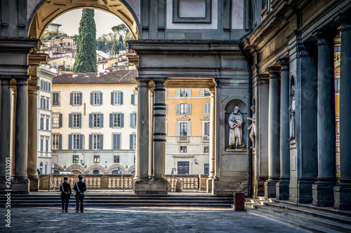 Uffizi Gallery. Piazza degli Uffizi square in the early Sunny autumn morning. Florence, Tuscany, Italy