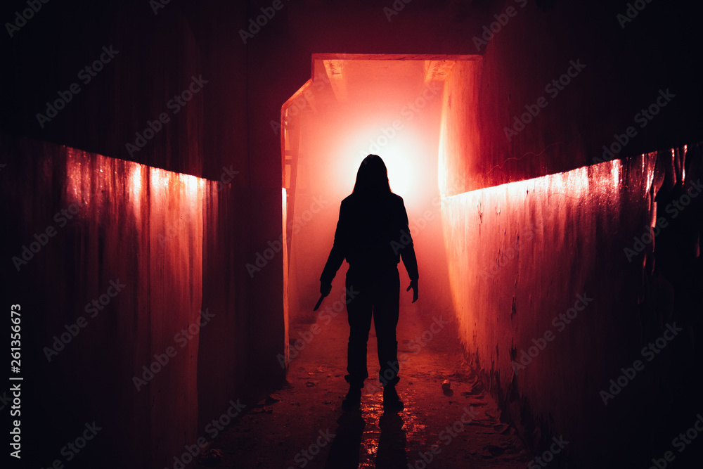 Fototapety, obrazy: Creepy silhouette with knife in the dark red illuminated abandoned building. Horror about maniac concept