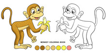 Monkey Coloring Book With A Banana, Cartoon Character, Flat Style.