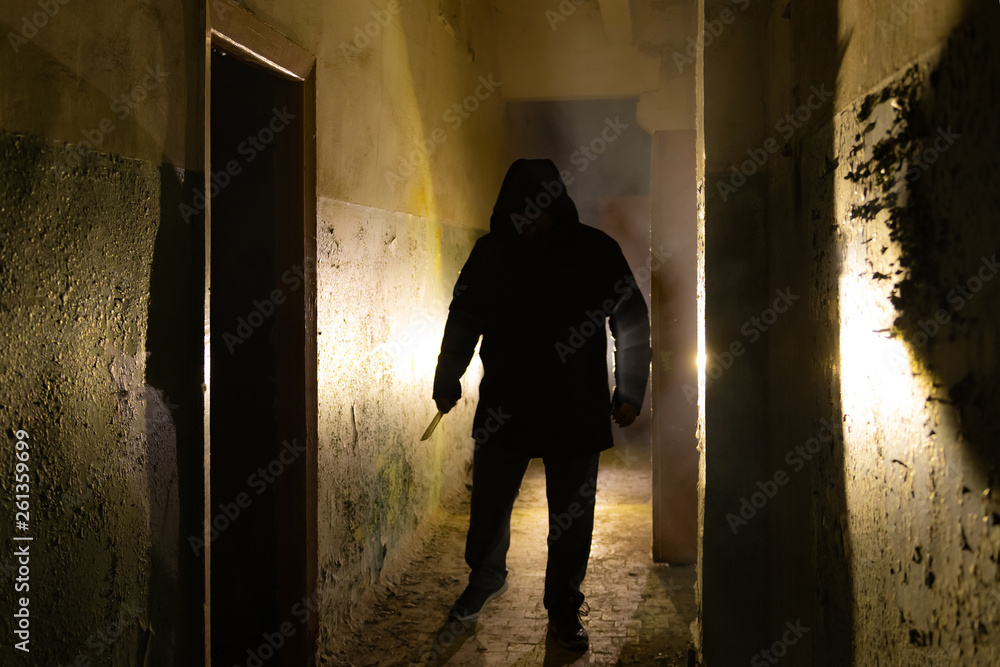 Fototapeta Creepy silhouette with knife  in the dark abandoned building. Horror about maniac concept