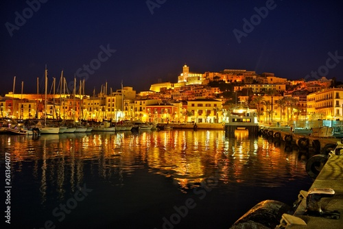 Reflections in the port of Ibiza at night.