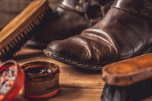 Old Vintage Leather Boots With...