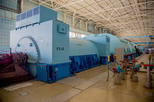Turbo Generator With Hydrogen Cooling At The Machinery Room Of Nuclear Power Plant