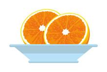 Half Orange Icon Cartoon