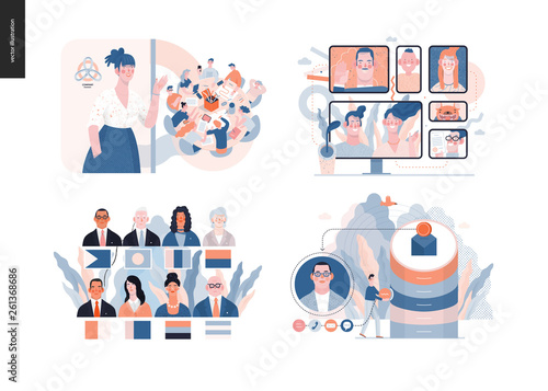 Fotografia Technology 3 set - modern flat vector concept digital illustration- Video Conferencing Technology, Meet our team, CRM Customer Relationship Management, Political leaders meeting