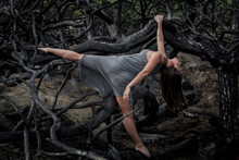 Young Ballerina In Grey Wear With Stretched Out Leg Posing On Branches Of Dry Woods