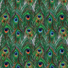 Seamless Pattern With Bird Feathers. Peacock Feather. Bright Multicolored Background. Pop Art Drawing Markers.