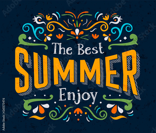 Fotografie, Obraz  Best Summer text quote poster for season holiday