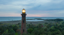 Sun Setting At Currituck Lighthouse Outer Banks North Carolina