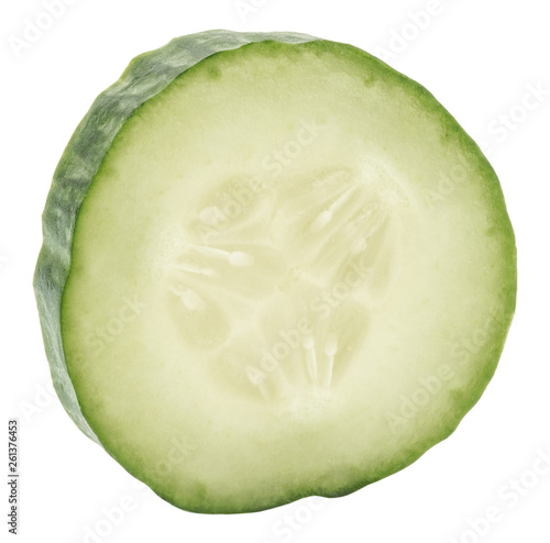 Poster Légumes frais Slice of cucumber isolated on white background